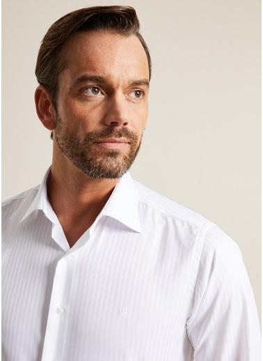 Bisse GM20K22158 Regular Fit Çizgili Klasik Gömlek Beyaz